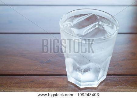 Glass Of Cold Water On Wooden Table