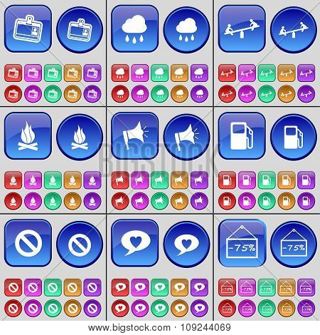 Contact, Cloud, Swing, Campfire, Megaphone, Gas Station, Stop, Chat Bubble, Discount. A Large Set Of