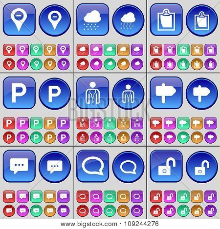 Checkpoint, Cloud, Survey, Parking, Avatar, Sing, Chat Bubble, Lock. A Large Set Of Multi-colored