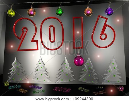 new year 2016, christmas tree 3d