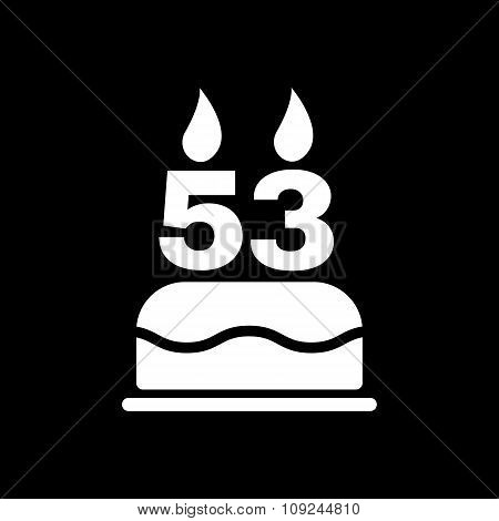 The birthday cake with candles in the form of number 53 icon. Birthday symbol. Flat