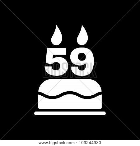The birthday cake with candles in the form of number 59 icon. Birthday symbol. Flat