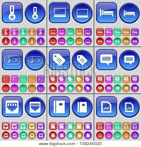 Medal, Laptop, Bed, Like, Tag, Chat Bubble, Lan Socket, Notebook, Graph. A Large Set Of Multi-