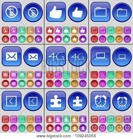 Mobile Phone, Like, Folder, Message, 4G, Laptop, Arrow Left, Puzzle, Alarm Clock. A Large Set Of