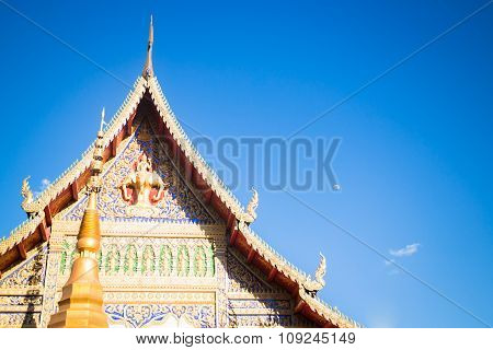 Sri Don Chai Temple Is Tourist Attraction Of Chiang Khong, Chiang Rai, Thailand