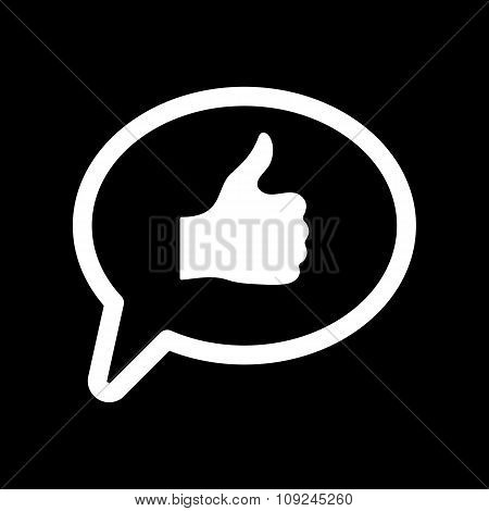 Thumbs up in the speech bubble icon. Social network and web communicate, like symbol. Flat
