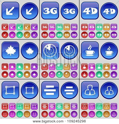 Deploying Screen, 3G, 4G, Maple Leaf, Radar, Coffee, Frame, List, Avatar. A Large Set Of Multi-