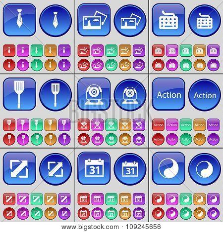 Tie, Picture, Keyboard, Padle, Webinar, Action, Deploying Screen, Calendar, Yin-yang. A Large Set