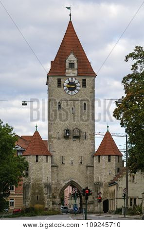 Old East Gate In Regensburg, Germany