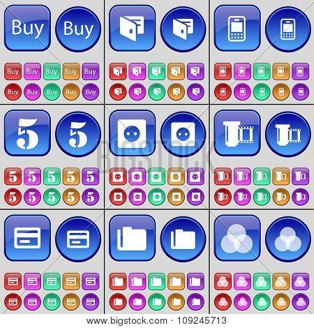 Buy, Wallet, Mobile Phone, Five, Socket, Negative Films, Credit Card, Folder, Rgb. A Large Set Of