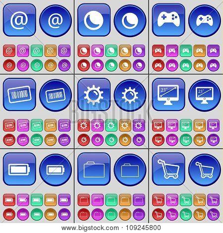 Mail, Moon, Gamepad, Barcode, Gear, Monitor, Battery, Folder, Shopping Cart. A Large Set Of Multi-