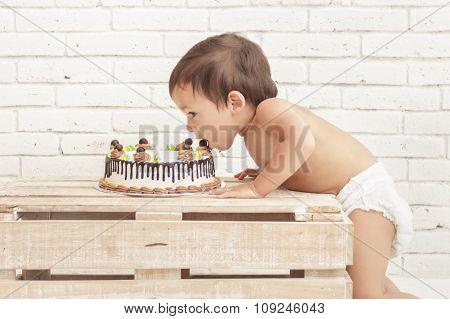 Cute Toddler Eating His Cake