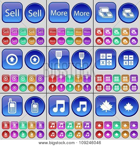 Sell, More, Printer, Arrow Up, Padle, Calculator, Mobile Phone, Note, Maple Leaf. A Large Set Of