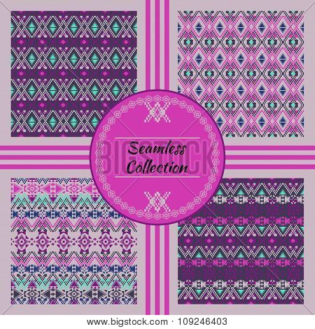 Vector Seamless Texture. Set Of Ethnic Tribal Geometric Patterns With Swatches Inside