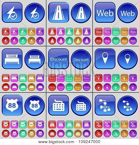 Flash, Road, Web, Bed, Discount, Checkpoint, Badge, Keyboard, Network. A Large Set Of Multi-