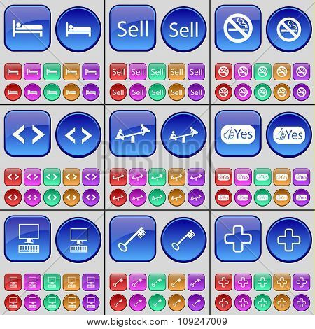 Bed, Sell, No Smoking, Code, Swing, Yes, Monitor, Key, Plus. A Large Set Of Multi-colored Buttons.