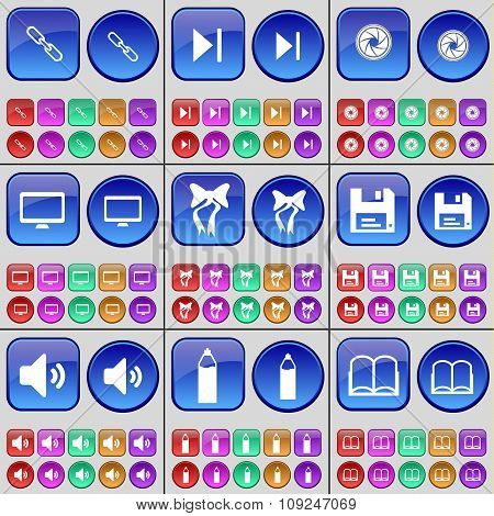 Link, Media Skip, Lens, Monitor, Bow, Floppy Disk, Sound, Pencil, Book. A Large Set Of Multi-
