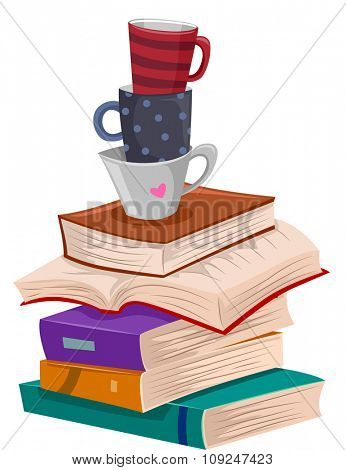 Illustration of a Pile of Books with Cups of Coffee on Top