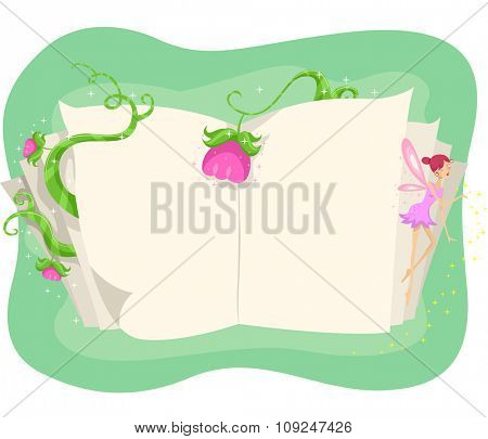 Illustration of an Open Book Surrounded by Flowers and Vines