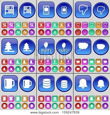 Bookshelf, Mobile Phone, Dislike, Firtree, Party, Chat Cloud, Cup, Database, Notification. A Large