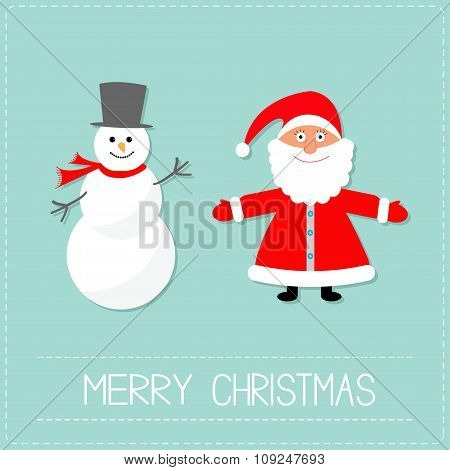 Cartoon Snowman And Santa Claus. Blue Background. Dash Line. Merry Christmas Card. Flat Design