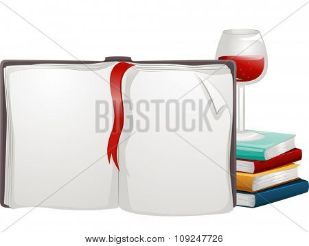 Illustration of an Open Book Using a Red Ribbon as a Marker