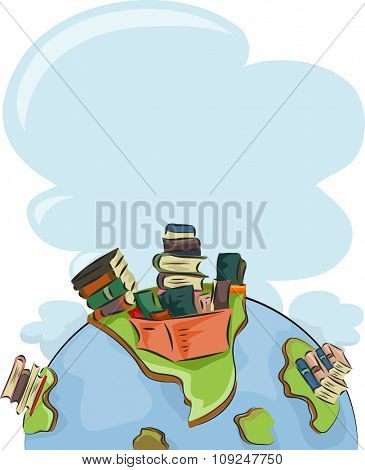 Illustration of a Globe with Tall Stacks of Books on Top