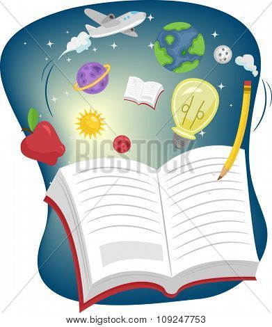 Illustration of an Open Book Surrounded by Education Related Items