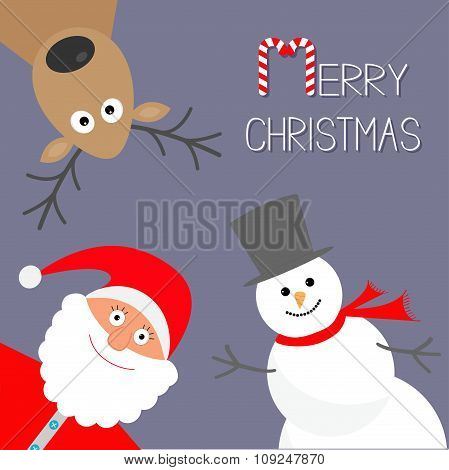 Cartoon Snowman, Santa Claus And Deer. Violet Background. Candy Cane. Merry Christmas Card. Flat Des