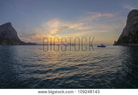 Sunrise In A Small Bay On The Black Sea Coast.