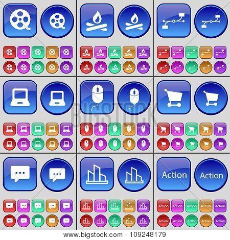 Videotape, Campfire, Connection, Laptop, Mouse, Chat Bubble, Diagram, Action. A Large Set Of Multi-