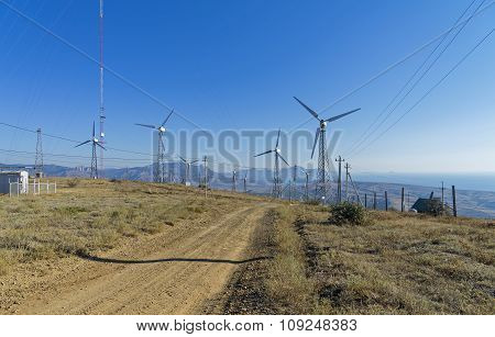 Wind Power Generators At A Power Plant.