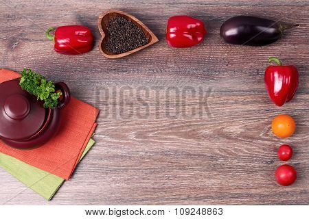 Vegetables On Old Wooden Background Overhead Close Up Shoot
