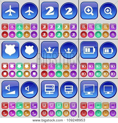 Airplane, Two, Magnifying Glass, Police Badge, Crown, Battery, Volume, Server, Monitor. A Large