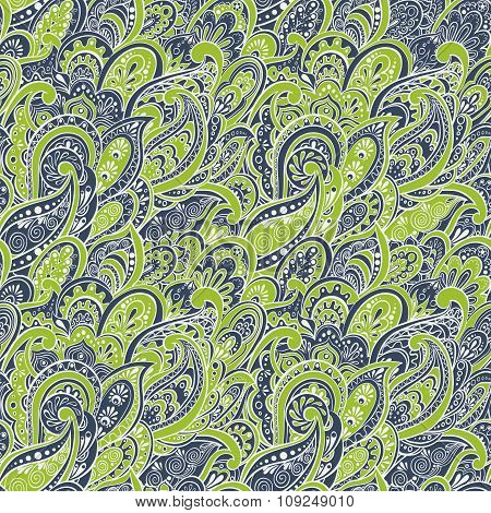 colorful paisley seamless pattern. vector ethnic background