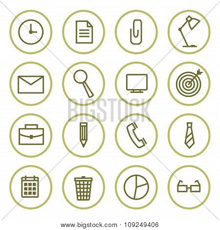 Office Icons Set Contour  In Circles. Vector Illustration