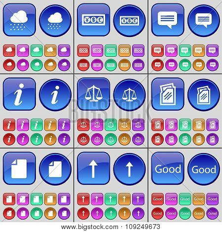 Cloud, Currency, Chat Bubble, Information, Scales, Folder, File, Arrow Up, Good. A Large Set Of
