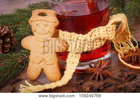 Glass Of Mulled Wine Wrapped Scarf, Gingerbread, Spices And Spruce Branches