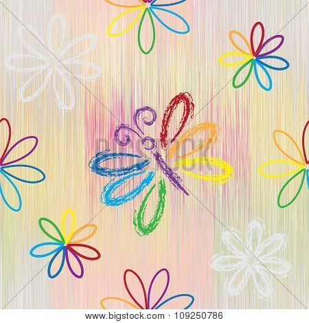 Seamless pattern with rainbow cartoon butterfy and flowers on striped background in pastel colors