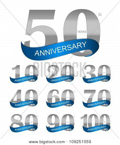 Template Logo Set Anniversary Vector Illustration