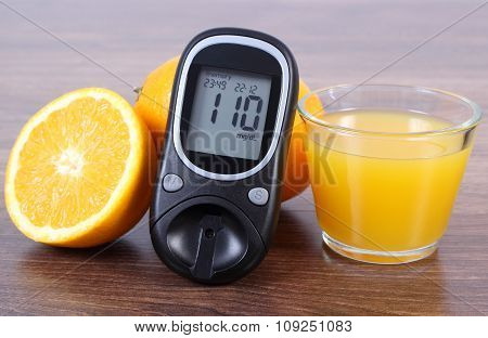 Glucometer, Fresh Orange And Juice, Diabetes, Healthy Lifestyles And Nutrition