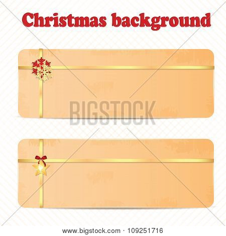 Set Of Christmas And New Year Banners With Gold Ribbons