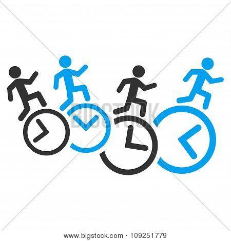 Men Running Over Clocks Icon