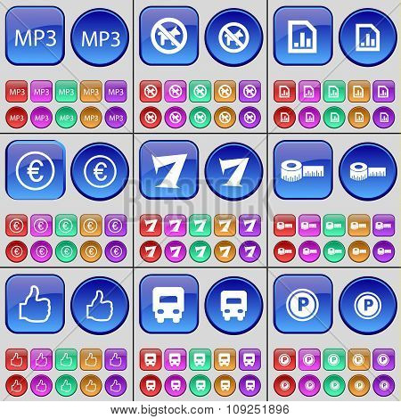 Mp3, No Pets Allowed, Diagram, Euro, Seven, Tape Measure, Like, Truck, Parking. A Large Set Of