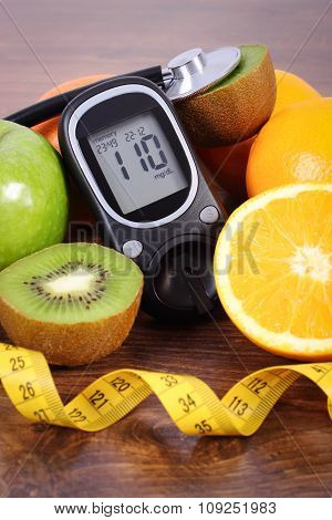 Glucometer, Stethoscope, Fruits And Centimeter, Diabetes Lifestyles And Nutrition