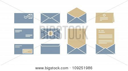Vector Icons For Computer Envelopes With Letters