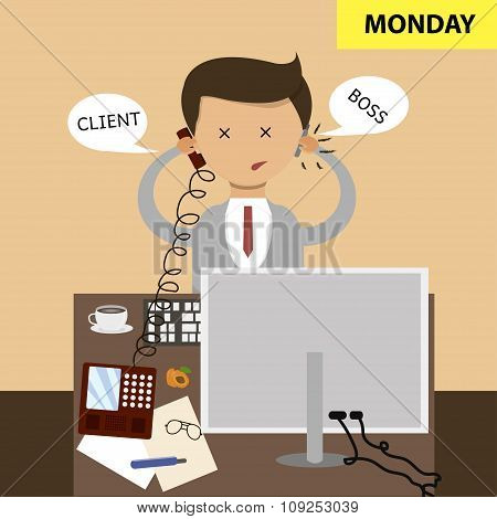 Business Concept In Flat Design. Sitting In The Office At The Workplace. Start Of The Work Week, Mon