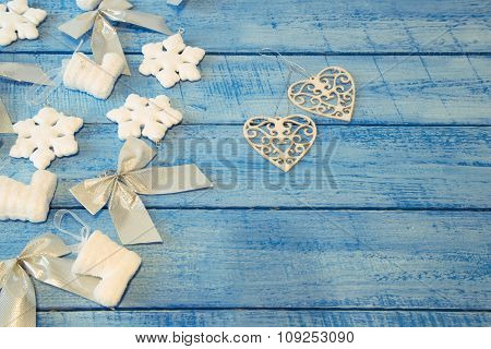 Christmas Decorations On A Wooden Blue Background