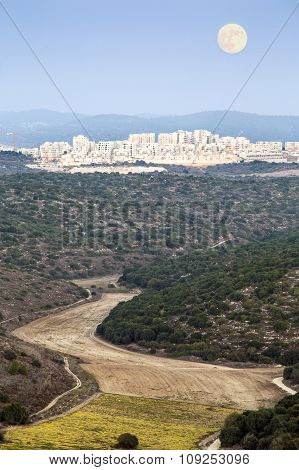 Landscape Of Town In Judean Mountains, Israel