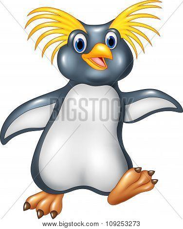 Cartoon funny penguin rockhopper